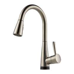 Brizo - Brizo 64070LF-SS Venuto Stainless Steel Pull-Down Bar/Prep Faucet - The Brizo 64070LF-SS is a One Handle Pull-down Kitchen Faucet with Smart-Touch From Brizo's Venuto Design Suite Featuring Sleek European Inspires Lines and comes in a Stainless Steel Finish.