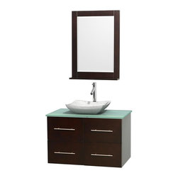 Wyndham Collection - 36 in. Single Bathroom Vanity in Espresso, Green Glass Countertop, Avalon White - Simplicity and elegance combine in the perfect lines of the Centra vanity by the Wyndham Collection . If cutting-edge contemporary design is your style then the Centra vanity is for you - modern, chic and built to last a lifetime. Available with green glass, pure white man-made stone, ivory marble or white carrera marble counters, with stunning vessel or undermount sink(s) and matching mirror(s). Featuring soft close door hinges, drawer glides, and meticulously finished with brushed chrome hardware. The attention to detail on this beautiful vanity is second to none.