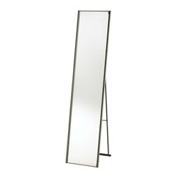 Adesso - Adesso Alice Floor Mirror - Folding stand-up-floor mirror has a powder coated champagne steel finish. Quarter inch bevel trims the left and right side of the mirror, whose overall width is 11.25 in. Overall size: 13.5' Width, 59 in Height, open depth is 14.5 in. Folds flat to 2 in Depth for storage