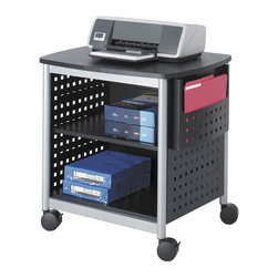 Safco - Safco Scoot Printer Stand in Black - Safco - Printer Stands - 1856BL - This mobile office printer stand is proven convenient for freeing up desk space and mobile printing needs. Featuring durable steel frame construction and black pace panels two open supply shelves and wheel casters with lock function the Scoot is both attractive and practical.