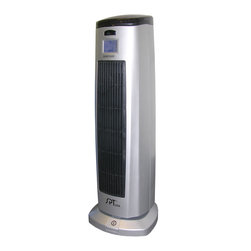 Sunpentown - Tower Ceramic Heater with Ionizer - Ceramic heat offers soothing warmth and the safety of a low surface temperature. 120 oscillation provides widespread heat coverage to gradually warm your entire room. Built-in Ionizer automatically functions when unit is turned on. Heat can also be turned off and operate unit as a fan. Features a digital thermostat with LCD display and remote, timer and main power safety switch (convenient foot switch for controlling the main power without bending over). Elegant standing design will compliment any room.