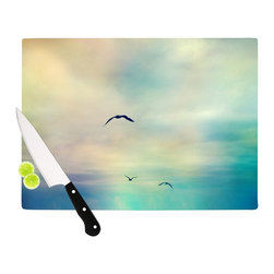 """Kess InHouse - Sylvia Cook """"Freedom"""" Birds Sky Cutting Board (11"""" x 7.5"""") - These sturdy tempered glass cutting boards will make everything you chop look like a Dutch painting. Perfect the art of cooking with your KESS InHouse unique art cutting board. Go for patterns or painted, either way this non-skid, dishwasher safe cutting board is perfect for preparing any artistic dinner or serving. Cut, chop, serve or frame, all of these unique cutting boards are gorgeous."""