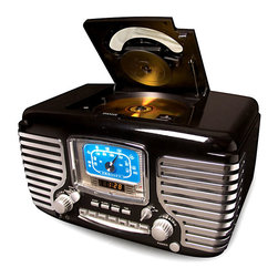 Crosley Radio - Black Corsair AM/FM Radio/Alarm Clock - This 1950s inspired radio and alarm clock combines form and function into one great package. The top loading CD display with LED display adds a modern touch while the polished speaker covers make this offering look like a 1950s car. As well, a digital alarm clock with snooze and sleep functions make this item even more versatile. * AM/FM Radio with Illuminated Analog Tuner. Digital Alarm Clock with Dual Alarms. Snooze and Sleep Functions. Top-loading CD Player with LED Display. Programmable 20-track memory. Random and Repeat Play. Dynamic Full Range Stereo Speakers. Rotary Function Select. Headphone jack. External FM Antenna. Available in blackWhen it comes to our most cherished electronic item, lets face it, our alarm clock probably doesn't rank right up there at the top of the list. Who really enjoys that annoying reminder to get out of bed each morning anyway? Well cry in.SLEEPin. no more! Crosley's alarm clock radio with CD Player is not only functional but fabulous. Styled out like a 1950's automobile, this beauty features enough color and chrome to get your engines revved up and rolling each morning. This vintage icon has clean streamlined sophistication coupled with all the functionality one could ever hope for. Modern day conveniences incorporate an AM/FM radio, programmable CD player with 20-track memory, dual alarms that can be set and used independently and as if that weren't enough you can opt to wake to CD, radio or buzzer alarm. Combine these features with dynamic stereo speakers and you have no reason not to get out of bed each morning.. 6 1/2 in. W x 6 3/4 in. H x 10 1/2in.L