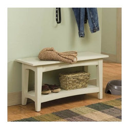 """Alaterre - Shaker Cottage Bench Table - Features: -Can be used with coat hook storage.-1 Shelf underneath the seat for storage.-Traditional design with Shaker and Cottage overtones.-General conformity certificate.-Includes lower shelf for storage.-Composite wood construction.-Shaker Cottage Collection.-Distressed: No.-Collection: Shaker Cottage.-Seating Capacity: 3.-Arms Included: No.-Back Included: No.-Number of Items Included: No.-Cushions Included: No.-Lid Included: No.-Skirted: No.-Slipcover: No.-Upholstered: No.-Stackable: No.-Foldable: No.-Tray Included: No.-Powder Coated Finish: No.-Storage Included: No.-Material: Composite wood.-Solid Wood Construction: No.-Outdoor Use: No.-Legs Included: Yes -Leg Material: Wood.-Removable Legs: No..-Commercial Use: No.-Recycled Content: No.-Eco-Friendly: No.-Hardware Finish: Metal.-Product Care: Wipe clean with a dry cloth.-Number of Shelves: 1.Specifications: -FSC Certified: No.Dimensions: -18"""" H x 36"""" W x 14"""" D.-Overall Product Weight: 32.-Overall Height - Top to Bottom: 18.-Overall Width - Side to Side: 36.-Overall Depth - Front to Back: 14.-Seat Height: 18.-Arms: No.-Legs: -Leg Height - Top to Bottom: 3..-Base: No.-Storage Compartment: -Storage Compartment Width - Side to Side: 13.-Storage Compartment Depth - Front to Back: 13..Assembly: -Assembly Required: No.-Additional Parts Required: No.Warranty: -Manufacturer provides 13 years warranty and 1 year guarantee against manufacturing related issues.-Product Warranty: 1 year limited warranty."""