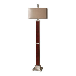 The Uttermost Company - Brimley Modern Wood Floor Lamp - Burnt red wood veneer with brushed aluminum accents.  The rectangle hardback shade is a silken golden champagne fabric.