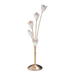 Dainolite - 5 Light Table lamp, Antique Brass, antique alabaster glass - -Main Body Material: Glass
