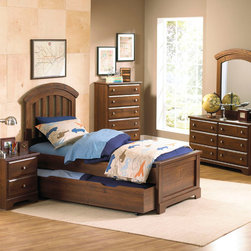 Standard Furniture - Standard Furniture Parker 5 Piece Kids Panel Bedroom Set w/ Trundle in Golden Br - Parker Bedroom offers the perfect solution for rooms that have a smaller footprint, yet still need lots of storage. - 65950-PB-TR-5-SET.  Product features: Design features include clean case profiles, lipped drawers with step shaped edges, smooth base line cuts and rounded top crowns. ; Parker's mid- height Loft Bed allows a twin size sleeping area up top with the Dresser and Bookcase fitting beneath, all in the same compact floor space. ; For safety there is a sturdy built-in side rail and stair unit with nonslip tread surface to access the loft sleeping area, which allows extra drawer storage within the stair end panel. ; For clothing storage there is a Double Dresser with Vertical Mirror, and a 5-Drawer Chest. ; Plus, there is a Bookcase cubby that doubles as an open Nightstand for the bedside. ; Twin and Full Size Panel Beds are also available, and have rounded tops that coordinate with the Vertical Mirror. ; Parker has sturdy folded case construction of durable engineered wood products with a warm golden brown cherry finish on pine grained laminate veneers. ; Its hardware is a wooden knob with a brushed nickel insert.; Surfaces clean easily with a soft cloth.; Surfaces clean easily with a soft cloth.. Product includes: Panel Bed (1); Nightstand (1); Chest (1); Dresser (1); Mirror (1). 5 Piece Kids Panel Bedroom Set w/ Trundle in Golden Brown Cherry  belongs to Parker Collection by Standard Furniture.