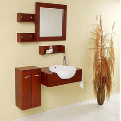 Fresca - Fresca Stile Oak Modern Bathroom Vanity with Mirror and Side Cabinet - A rich oak finish and included side cabinet highlight this Fresca bathroom vanity. This vanity features a ceramic sink and five shelves.