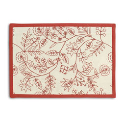 Red Stitch-Embroidered Floral Tailored Placemat Set - Class up your table's act with a set of Tailored Placemats finished with a contemporary contrast border. So pretty you'll want to leave them out well beyond dinner time! We love it in this red crewel embroidered floral on cream cotton. whether you take it classic, modern or rustic...this playful pattern will leave you in stitches.