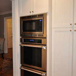 1973 Colonial Remodel After - Thermador Triple Stack with Professional Handles.  Oven, Microwave & Warming Drawer.