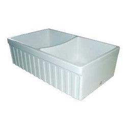 "Whitehaus Collection - Whitehaus 33 Quatro Alcove Reversible Sink, Double Bowl, Fireclay (WHQDB332-BL) - Whitehaus WHQDB332-BL 33"" Quatro Alcove Reversible Sink, Double Bowl, Fireclay, Black"