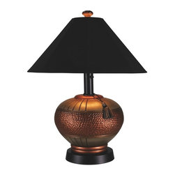 Patio Living Concepts - Phoenix Outdoor Table Lamp Multicolor - 46917 - Shop for Lamps from Hayneedle.com! The Phoenix Outdoor Table Lamp brings exotic illumination to your outdoor decor. This lamp adds an elegant touch to any table and features a resin construction with a touch of Moroccan inspiration. It s completely weatherproof with a Sunbrella shade and unbreakable poly light bulb enclosure. A dual-level dimming feature lets you set the mood. Requires a 100-watt bulb (not included).About Greenway Home ProductsGreenway Home Products is a diversified home products company that designs develops manufactures and markets an extensive line of residential appliances. The extensive line-up of products includes water dispensers water treatment accessories laundry racks solar fountains wine cabinets and electric fireplaces all of which incorporate cutting-edge design and technology. Designed and engineered in Canada all of Greenway's products are made with a strong commitment to design and innovation.