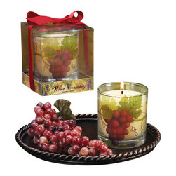 Deco Glow - Wine Country Large Glass Candles, Set of 6 - Wine  Country  Large  Glass  Candles.  Includes  6  candles  in  the  pack.  Glass  votive  candle  with  etched  grape  and  grapevine  overlay.