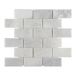 Tilesbay.com - 10 Pieces of 2x4 Polished White Cloud Interlocking Subway Marble Tile - White Cloud 2x4 Interlocking Subway Polished  12x12 Marble in a mesh-backed sheets is classic white and gray tiles to add class to any room. It is recommended for floors and wall projects in residential properties and is for interior use only.