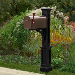 Mayne - Mayne Newport Plus Mail Post - 5813-B - Shop for Mailboxes and Accessories from Hayneedle.com! Mount your mailbox in a sturdy and stylish manner atop the Mayne Newport Plus Mail Post. This eye-catching plastic post cover goes over a standard 4- x 4-inch post to create a classic look. It's built from molded heavy-duty polyethylene with UV inhibitors to protect your choice of color and includes a large decorative post and mailbox support arm. A lightweight mailbox is recommended weighing less than 7 lbs. Top inset panel on post measures 1.9 inches wide and 25.5 inches high. Use a 4- x 4-inch post at least 84 inches high.About MayneMayne products Outdoor Products of Distinction a distinction they back up by delivering consistently attractive and functional accents for both front and back yards. Heavy-duty molded poly construction gives their products the durability they need to make it outdoors and UV-treated coloring processes provide a wealth of neutral options that fit your style. They take design cues from classic East Coast style so your outdoor Mayne products will never be out.