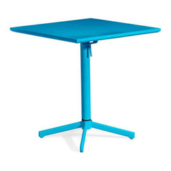 Grandin Road - Big Wave Folding Square Table - Steel frame with an all-weather epoxy finish. Coordinates with Silvermine or Repulse Bay outdoor chairs. Arrives assembled. Easily folds up for storage when not in use. Cleans with a dry cloth. Our durable Big Wave Folding Square Table is equally perfect for a sunrise breakfast or happy hour. Let the clean lines and hot hues brighten up your outdoor dining space. And when the season, or just the meal, is finished, Big Wave folds up for easy storage.. . . . . Imported.