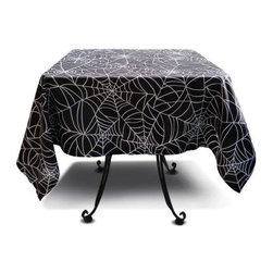 Sin in Linen - Spider Web Table Cloth - 52 x 52 Inches - Food is the way to a persons heard and these webs will keep them there. Ensnare your guests with spider web kitchen linens.