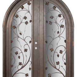 "Vineyard 72x96 Wrought Iron Wine Room door 14 Gauge Steel - ""SKU#    PHBFVNRTDR4Brand    GlassCraftDoor Type    InteriorManufacturer Collection    Buffalo Forge Steel DoorsDoor Model    VineyardDoor Material    SteelWoodgrain    Veneer    Price    9085Door Size Options      $Core Type    one-piece roll-formed 14 gauge steel doors are foam filled  Door Style    Round TopDoor Lite Style    Full LiteDoor Panel Style    Home Style Matching    Mediterranean , Victorian , Bay and Gable , Plantation , Cape Cod , Gulf Coast , ColonialDoor Construction    Prehanging Options    PrehungPrehung Configuration    Double DoorDoor Thickness (Inches)    1.5Glass Thickness (Inches)    Glass Type    Double GlazedGlass Caming    Glass Features    Insulated , TemperedGlass Style    Glass Texture    Clear , Glue Chip , RainGlass Obscurity    Door Features    Door Approvals    Wind-load RatedDoor Finishes    Three coat painting process"