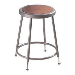 National Public Seating - Science Lab Adjustable Stool w Hardboard Seat - The 6200 Series utility stools are designed for commercial use, but are handy for home workshops or hobby areas, too. A steel ring surrounds the inset Masonite seat and legs incorporate circular foot support. Adjustable heights make it practical for lab or industrial settings. Round shape. 14 in. Dia. seat with 11.5 in. Dia. masonite board recessed into pan and will not chip or crack. 0.63 in. O.D. foot rings are welded to each leg. Four contact points at each leg for added rigidity. Steel contains 30-40% of post-consumer waste (recycled). Meets ANSI and BIFMA standards. Warranty: Five years for material. Made from 0.88 in. O.D. 18-gauge steel tubing. 14 in. L x 14 - 16 in. W x 19 - 27 in. H (10 lbs.)