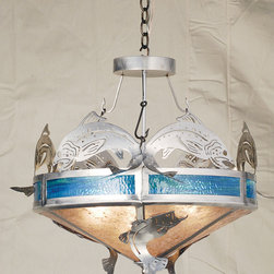"""Meyda Lighting - Meyda Lighting 27"""" W Catch Of The Day Trout Inverted Pendant - Trout And Bass Are The Catch Of The Day On This Semi-Flush Handcrafted In The USA By Meyda Artisans. This Original Fixture Is Suspended From Fishhook Chains, Is"""