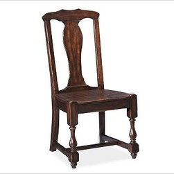 """Cortona Side Chair, Alfresco Brown finish - Details like baluster legs and a vase-shaped back splat give this chair the substantial style of Spanish Colonial furniture. With its carved saddle seat, it's also exceptionally comfortable. Side Chair: 20.5"""" wide x 21"""" deep x 42"""" high Armchair: 25.5"""" wide x 21"""" deep x 42"""" high Handcrafted of kiln-dried hardwood. Finished by hand in our exclusive Alfresco Brown stain. Use with our Medium PB Classic Cushion (sold separately). View our {{link path='pages/popups/fb-dining.html' class='popup' width='480' height='300'}}Furniture Brochure{{/link}}."""