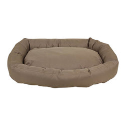 Carolina Pet Company - Brutus Tuff Comfy Cup, Khaki, 27 X 24 X 6 - Super tough for pets that are rough on their beds.  1200 D Polyester fabric makes this the perfect bed for pets that like to scratch or chew.  Easy off zippered cover for easy care.  Machine washable.  100% recycled high loft Polyester fill keeps pets off cold floors for added comfort and relief on hips, joints and pressure points.