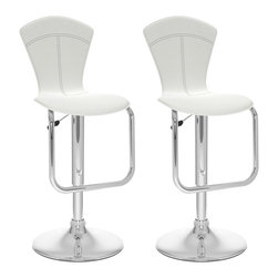 Sonax - Sonax CorLiving Tapered Back Bar Stool in White Leatherette (Set of 2) - Sonax - Bar Stools - B212VPD - Add spice to any bar or kitchen island with the featuring a comfortable padded continuous form seat with a tapered high backrest and finished in a White soft leatherette. The gas lift adjusts the seat to a variable bar height while the finely detailed stitch pattern, a chrome gas lift and base adds a contemporary touch to any setting. A great addition to any home!