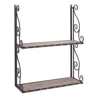 "Benzara - Metal and Wood Wall Shelf with Antique Finish - Metal and wood wall shelf with antique finish. An ideal blend of aesthetic appeal and utility factor, this metal/wood wall shelf comes with an antique finish that offers a complete look to your contemporary decor. It comes with following dimensions 24"" W x 9"" D x 30"" H."