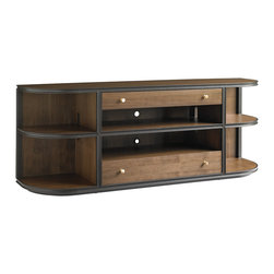 Stanley Furniture - Montreux Living Room Free Standing Media Console - Alpine Walnut - Stacked curvilinear shelves add balance and symmetry to the Freestanding Media Console Table in Alpine Walnut. Two drawers, three shelves Made to order in America.