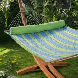 Island Bay Parrot Stripe Dura-Weave Quilted Hammock with 15 ft. Russian Pine Woo - Get the whole gorgeous package when you choose the Island Bay Parrot Stripe Dura-Weave Quilted Hammock with 15 ft. Russian Pine Wood Arc Hammock Stand. Made with beautiful and durable Russian pine wood, the stand artfully suspends the Island Bay Parrot Stripe Dura-Weave Quilted Hammock and allows for plenty of swinging. You'll find ample room for two people, so grab your significant other and cuddle up. Juniper spreader bars keep the bed open for graceful entering and exiting. The sculptural arc design adds elegance to your yard's landscape, making for a picturesque lounging area. The stand is sealed for protection from the elements. Hanging hardware is included so you can get to lounging as soon as possible.About Island Bay HammocksIsland Bay brings you well-designed, authentic hammocks and accessories from around the world. From the East Coast to the West Indies, the hammock is recognized as the ultimate getaway, so we've dedicated ourselves to getting it right. You'll find eye-catching colors and patterns, comfortable outdoor designs, and heavy-duty stands designed to keep you swinging peacefully. It's your world ... relax in the real thing.