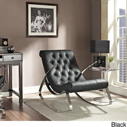 Modway - Black Lounge Chair Rocker - The honed chrome metal frame of this black lounge chair is sleek and discerning, while the cushioned leatherette padding is the epitome of comfort. This piece is both minimalist and edgy, making it the perfect addition to any room.