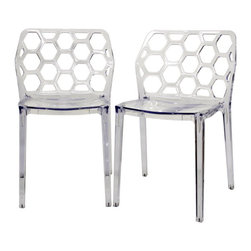 Honeycomb Clear Acrylic Modern Dining Chair (Set of 2) - B s and geometry love the shape of a hexagon 'mp on the bandwagon and add the Honeycomb Chair to your dining room, business, or restaurant!  This attractive organic shape makes a starring appearance in the contemporary design ofeethis clear acrylic chair.  The chairs are conveniently stackable, making them ideal for apartments or when storage is a priority.  Because they are made from a single mold, the Honeycomb Chairs are strong and sturdy.  Each chair is finished with plastic non-marking feet and is fully assembled.  This chair is also available in transparent red Lucite (sold separately).