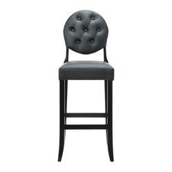 Buttoned Ghost Bar Stool In Black