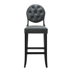 East End Imports - Buttoned Ghost Bar Stool In Black - There's nothing scary about this hauntingly beautiful bar stool. With a slight taper at the base, a comfy padded seat and back and a hautely hued black color, this riff on a contemporary classic design will add a spirit of style to your home.