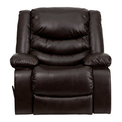 Flash Furniture - Flash Furniture Recliners Leather Recliners X-GG-NRB-87010CSD-NEM - This motion recliner will provide you comfort with the added bonus of the rocking feature. The rocker recliner can not only be used in the living room, but makes for a great nursery chair. The gentle back and forth rocking is soothing to both babies and adults. The thick cushions add to the comfort level to provide you comfort while you relax. The durable leather upholstery allows for easy cleaning and regular care. [MEN-DSC01078-BRN-GG]