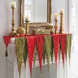"Grandin Road - Kringle Mantel Scarf - Colorful and easy holiday decorating solution. Decorates up to a 72"" long mantel. Polyester. Spot clean. A distinctive alternative to stockings, our colorful Kringle Mantel Scarf adds panache to your holiday decor. The 13 panels in various colors, textures, and lengths create a vivid focal point and easy decorating solution. Jingling bells adorn the tips, with tassels highlighting both ends.  .  .  .  . Imported."