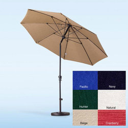 None - Fiberglass Olefin Crank and Tilt 9-foot Umbrella - On the patio or on the beach,you will stay cool no matter where you are with this innovative nine-foot tilting umbrella. This umbrella is available in an array of colors,is crafted from durable olefin fabric,and cranks up and down manually.
