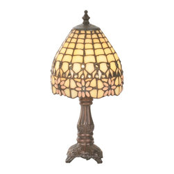 Meyda Tiffany - Victorian Flourish Mini Table Lamp - Requires one 25 watt candelabra type bulb. Victorian floral style. Made from copper foil. Shade in beige and pink color. Shade: 6 in. Dia. x 6 in. H. Overall: 6 in. Dia. x 13 in. H. Care Instructions