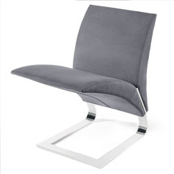Zuri Furniture - Grey Microfiber Bouncy Dining Chair - The name says it all. The whimsical Bouncy chairs uniform construction allows it to bounce up and down as you sit in it. Destined to become a conversation piece in any room, the The Bouncy contemporary chair is ideal for residential or commercial use. Features one piece chrome plated steel base, 300 lb. weight capacity, and suede microfiber available in multiple color choices.