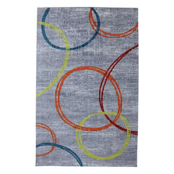 Mohawk Home - Strata Sleek Multi Contemporary Geometric Circle 5' x 8' Mohawk Rug (11752) - Inspired by the outdoors, this design evokes the simple elegance of nature.Action Backing