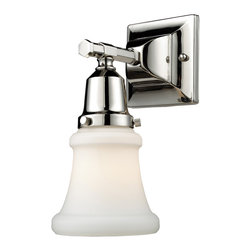 Elk Lighting - Barton 1-Light Vanity in Polished Nickel - This series exhibits white hand-blown mission style glass with an oversized glass holder for added impact. Hardware is Finished in polished nickel to highlight the quality components of this Refined Collection.