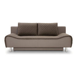 Fredo Sofa Bed - Fredo Sofa Bed with Storage.  Available in premium quality microfiber or chenille fabric with eco leather body.