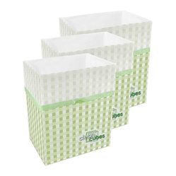 Clean Cubes - Clean Cubes Disposable Bins, Picnic Pattern, 6-Pack - Simply brilliant. These bright white cubes let you fill up the trash bin, then simply tie up the top and throw the whole container out. And to shed a little more light on the subject, they are biodegradable, so taking out the trash is easy on your conscience too.
