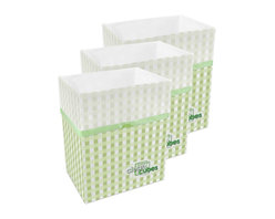 Clean Cubes - Clean Cubes Disposable Bin - 6-Pack Picnic Pattern - Simply brilliant. These bright white cubes let you fill up the trash bin, then simply tie up the top and throw the whole container out. And to shed a little more light on the subject, they are biodegradable, so taking out the trash is easy on your conscience too.