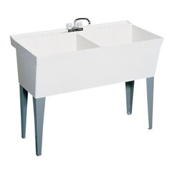 Swan - Swan Utility Sinks 23.375 in. x 45.375 in. Veritek Double Bowl Laundry Tub - This floor standing laundry tub has a molded-in wash board and double tubs for maximum work area. Sturdy construction has no surface coating to chip or crack. Drains and sturdy legs (4) are included. To accommodate the faucet of your choice 4 In. centers are marked but not drilled. Color: White.