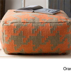 None - Hand Crafted Bryant Houndstooth 24-inch Large Square Pouf - Add a splash of color and extra seating to your space with this houndstooth patterned pouf. Constructed from 100-percent wool,this 24-inch piece comes in six vibrant colors of green,orange,yellow,purple,navy,and black.