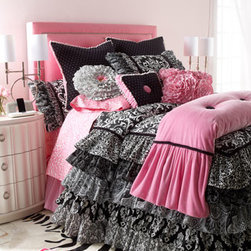 Horchow - Queen Pink Linen Dust Skirt - A positively perfect balance of black and white prints and pops of pink! Bed linens collection is made in the USA of imported cotton, polyester, and rayon materials and domestic linen. By Rogue Designs. Dry clean. Cotton coverlets have a polyester fill...