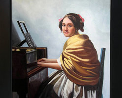 """overstockArt.com - Vermeer- Young Woman Seated at the Verginals - 20"""" X 24"""" Oil Painting On Canvas Hand painted oil reproduction of a famous Vermeer painting Young Woman Seated at the Verginals . Today it has been carefully recreated detail-by-detail, color-by-color to near perfection. Johannes, Jan or Johan Vermeer (1632 - 1675) was a Dutch painter who specialized in domestic interior scenes of middle-class life. Vermeer was a moderately successful provincial genret painter in his lifetime. He seems never to have been particularly wealthy, leaving his wife and children in debt at his death, perhaps because he produced relatively few paintings. Vermeer worked slowly and with great care, using bright colours and sometimes expensive pigments, with a preference for lapis lazuli and Indian yellow. He is particularly renowned for his masterly treatment and use of light in his work."""