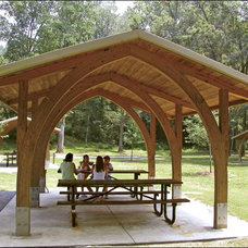 Contemporary Gazebos 20' x 36' Laminated Wood Rectangular Open-Knee Phoenix Pavilion