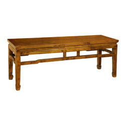 Antique Revival - Natural Savannah Kitchen Bench - This long chinese country-style bench is perfect for entryways and porches. The item features horse hoof legs and a natural wood finish. It provides extra seating or a place to set bags and coats. Item is newly made.